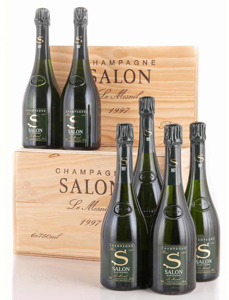 ot 767-771: parcels of 12 bottles 1997 Salon Vintage Champagne Le Mesnil in OWCs