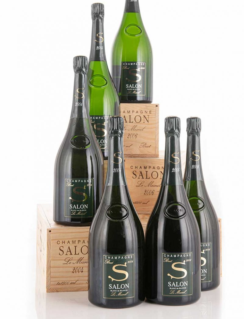 Lot 782-791: parcels of 12 bottles and 6 magnums 2004 Salon Vintage Champagne Le Mesnil in OWCs