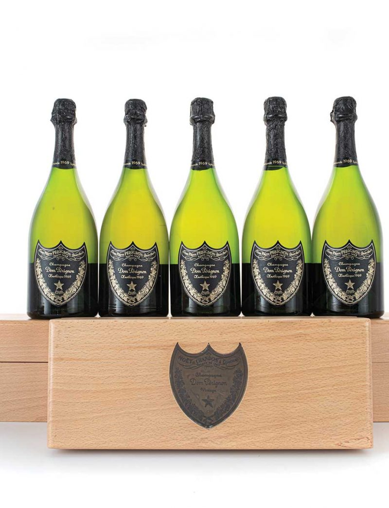 Lot 820: 6 bottles 1969 Dom Perignon Vintage Champagne Oenotheque in OWCs
