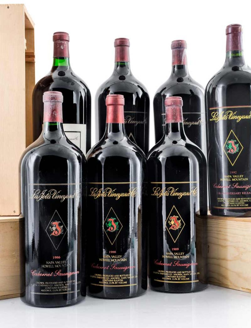 Lot 254, 255: 1 Imperial 1992 11th Anniversary and 1 Imperial ea 1982-1989 (no '84) La Jota Cabernet Sauvignon Howell Mountain